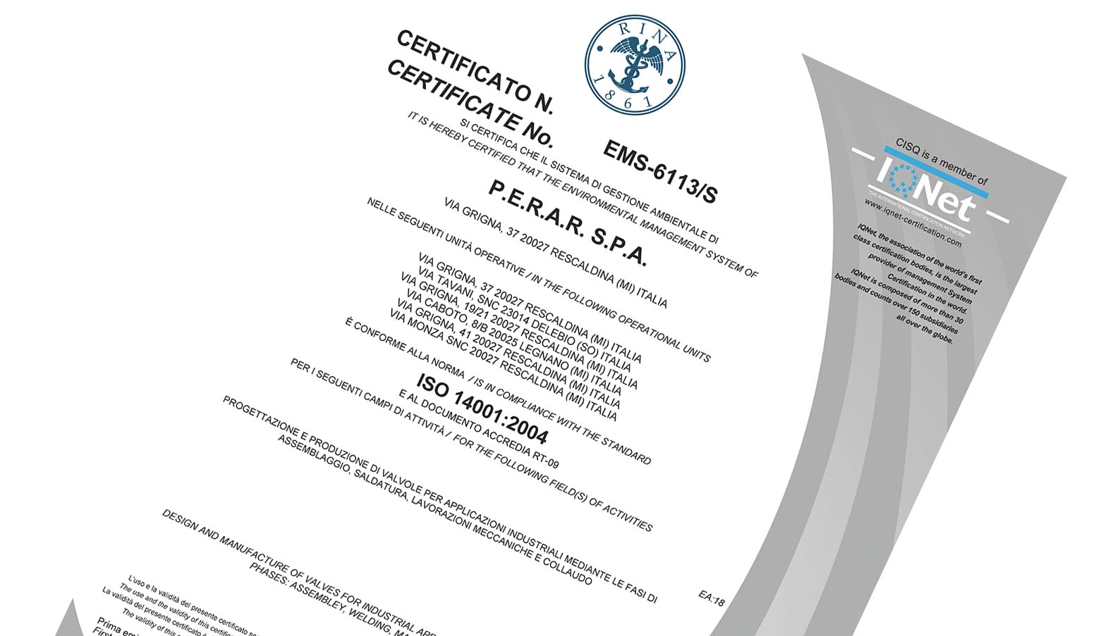 That's Perar Quality:  ISO 14001:2004 Certification